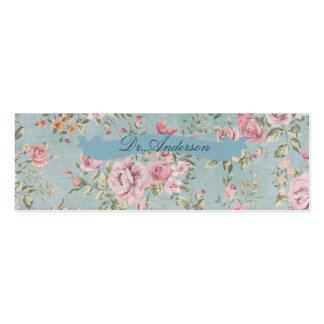 Vintage shabby chic floral teal pink girly elegant business card