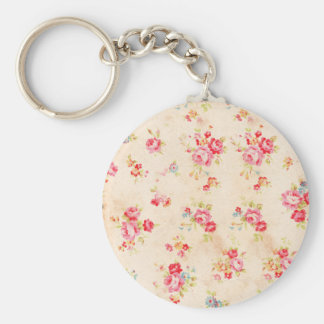 Vintage Shabby Chic Girly Pink Blue Roses Floral Basic Round Button Keychain