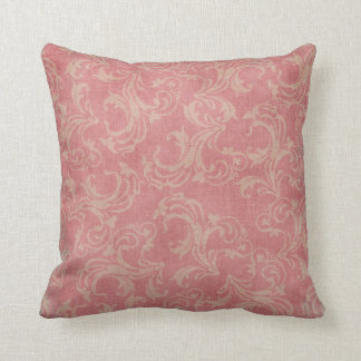 Vintage Shabby Chic Girly Pink Damask Throw Pillow