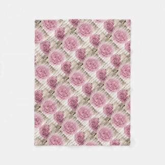 Vintage Shabby Chic Pink Roses Fleece Blanket