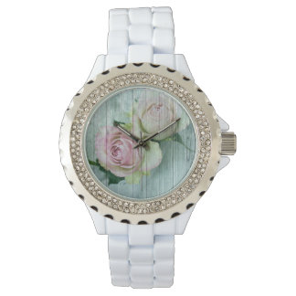 Vintage Shabby Chic Pink Roses Pure Elegance Wrist Watches