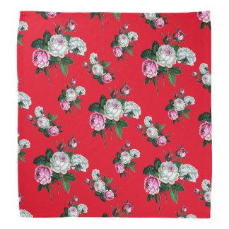 Vintage Shabby Chic Pink White Roses Pattern Bandana