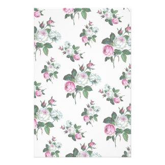 Vintage Shabby Chic Pink White Roses Pattern Stationery