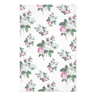 Vintage Shabby Chic Pink White Roses Pattern Stationery Paper