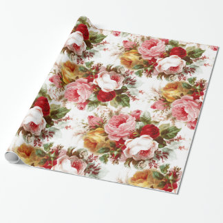 Vintage Shabby Chic Wedding Floral Wrapping Paper