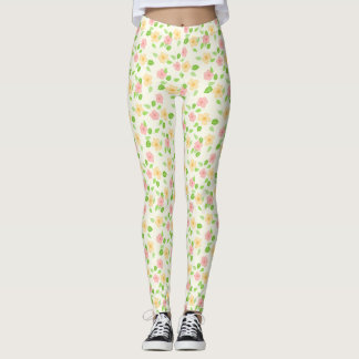 Vintage Shabby Chic Yellow and Pink Flower print Leggings