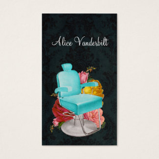 Vintage Shabby Damask Salon Chair Stylist Card