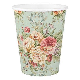 Vintage Shabby Floral Roses Pink Ivory Paper Cup