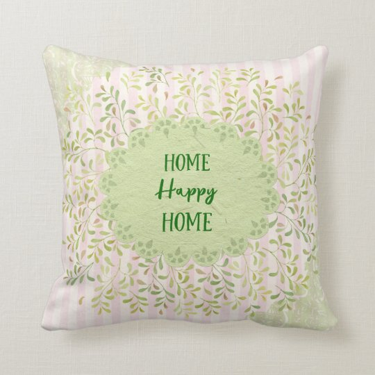 Vintage Shabby Home Happy Home Throw Pillow