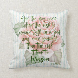 Vintage Shabby: Risk to Blossom Quote Throw Pillow