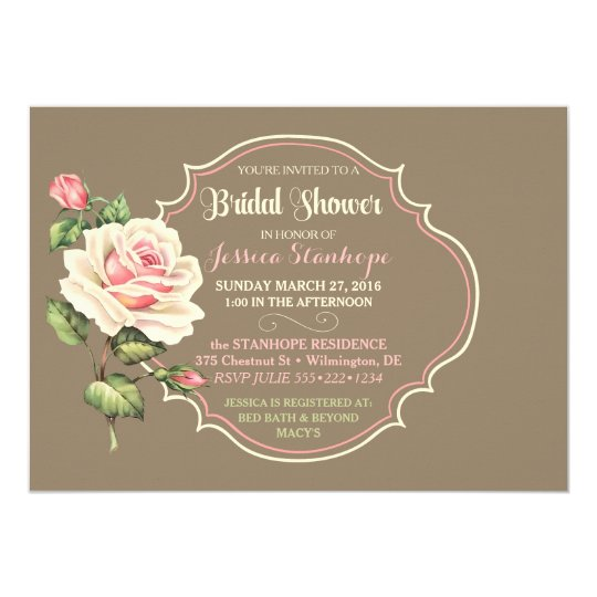 Vintage Shabby Rose Bridal Shower Pink Creme Card