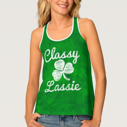 Vintage Shamrock Classy Lassie St. Patricks Day Tank Top