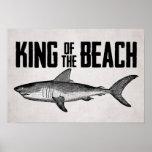 Vintage Shark Beach King Poster