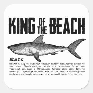Vintage Shark Beach King Square Sticker