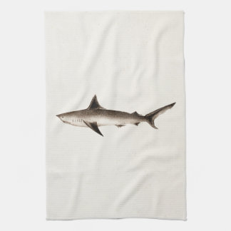 Vintage Shark Illustration - Retro Sharks Template Kitchen Towel