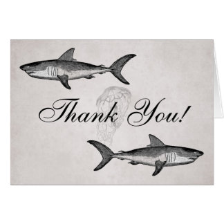 Vintage Sharks and Jellyfish Ocean Beach Thank You Card
