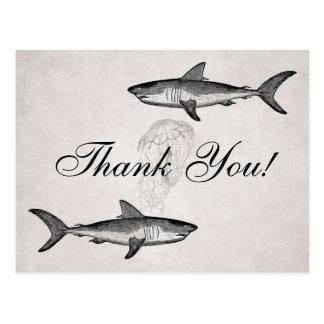Vintage Sharks and Jellyfish Ocean Beach Thank You Postcard