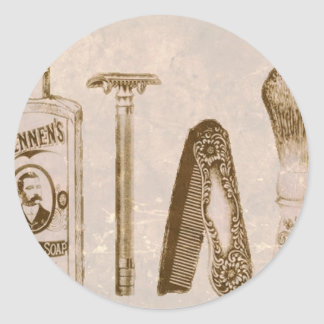 Vintage Shaving Kit Classic Round Sticker