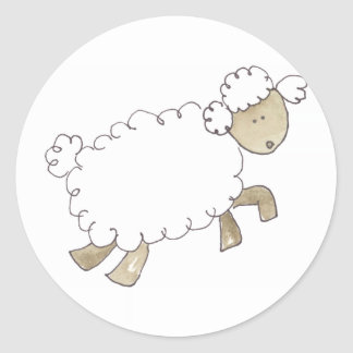 Vintage Sheep by Serena Bowman funny farm animals Classic Round Sticker