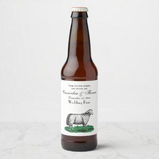 Vintage Sheep Ewe Farm Animals Drawing C Beer Bottle Label