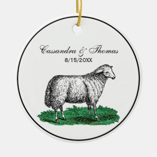 Vintage Sheep Ewe Farm Animals Drawing C Ceramic Ornament
