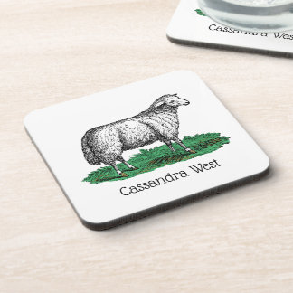 Vintage Sheep Ewe Farm Animals Drawing C Coaster