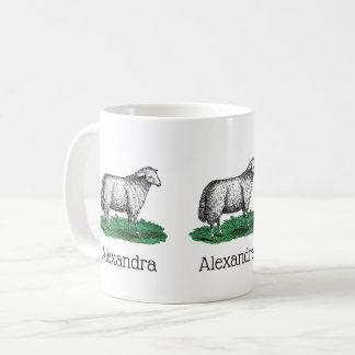 Vintage Sheep Ewe Farm Animals Drawing C Coffee Mug