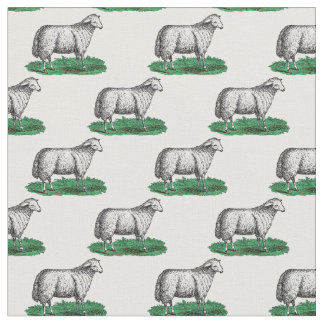 Vintage Sheep Ewe Farm Animals Drawing C Fabric