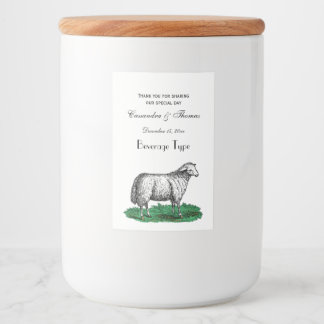Vintage Sheep Ewe Farm Animals Drawing C Food Label