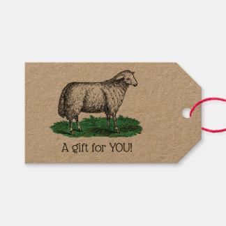 Vintage Sheep Ewe Farm Animals Drawing C Gift Tags