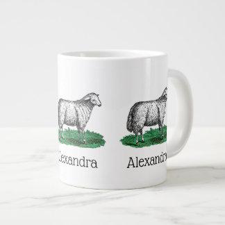 Vintage Sheep Ewe Farm Animals Drawing C Large Coffee Mug