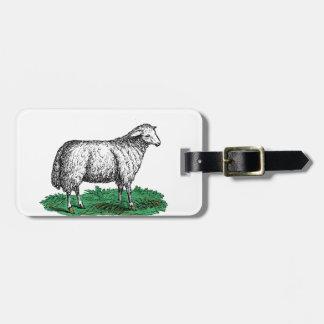Vintage Sheep Ewe Farm Animals Drawing C Luggage Tag