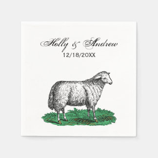 Vintage Sheep Ewe Farm Animals Drawing C Napkin