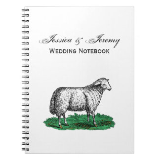 Vintage Sheep Ewe Farm Animals Drawing C Notebook