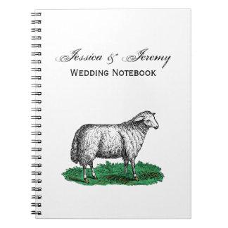 Vintage Sheep Ewe Farm Animals Drawing C Notebooks