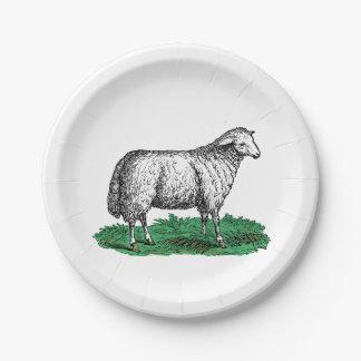 Vintage Sheep Ewe Farm Animals Drawing C Paper Plate