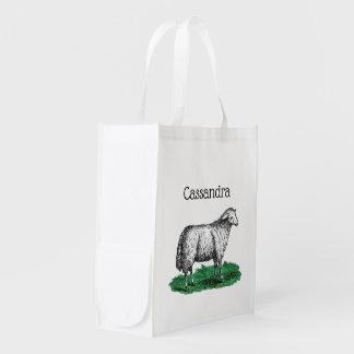 Vintage Sheep Ewe Farm Animals Drawing C Reusable Grocery Bag