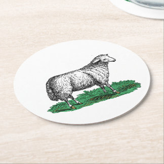Vintage Sheep Ewe Farm Animals Drawing C Round Paper Coaster