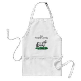 Vintage Sheep Ewe Farm Animals Drawing C Standard Apron