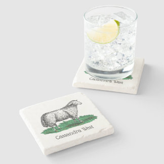Vintage Sheep Ewe Farm Animals Drawing C Stone Coaster