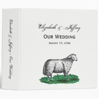 Vintage Sheep Ewe Farm Animals Drawing C Vinyl Binder