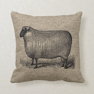 Vintage Sheep on Burlap Throw Pillow
