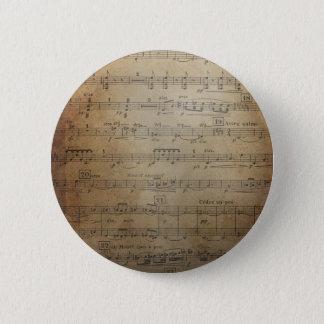 Vintage Sheet Music 2 Inch Round Button