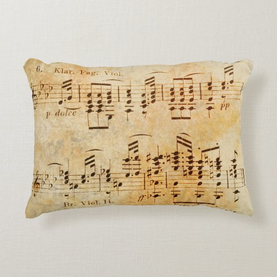 Vintage Sheet Music Accent Pillow