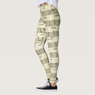 Vintage Sheet Music, Antique Musical Score 1810 Leggings