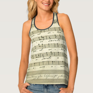 Vintage Sheet Music, Antique Musical Score 1810 Tank Top