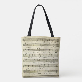 Vintage Sheet Music, Antique Musical Score 1810 Tote Bag