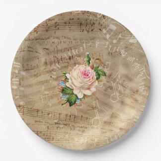 Vintage Sheet Music Antique Rose  Paper Plates