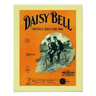 Vintage Sheet Music Daisy Bell Cover Copy Poster