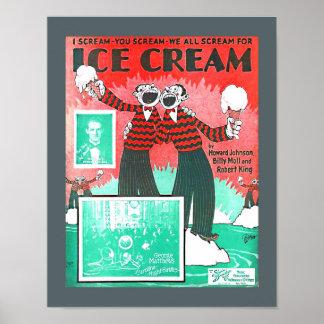 Vintage Sheet Music Ice Cream Howard Johnson copy Poster
